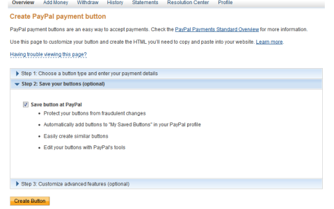 Creating a Hosted Button at Paypal